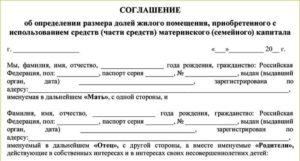 Соглашение о наделении долей по материнскому капиталу