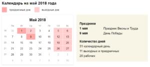 Если отпуск приходится на 1 мая 2017