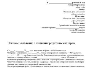 Заявление на лишение родительских прав отца образец 2021 россия