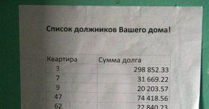 Должники по коммунальным услугам список