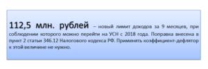 Лимит выручки по УСН на 2018 год