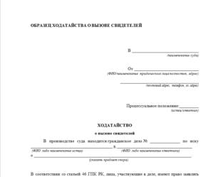 Ходатайство в суд о вызове понятых по административному делу