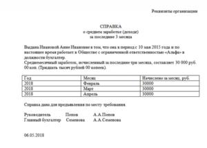 Справка для ип о доходах за 3 месяца
