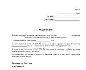 Ходатайство о проведении предварительного заседания в отсутствие истца апк