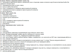 Коды нетрудоспособности в больничном листе