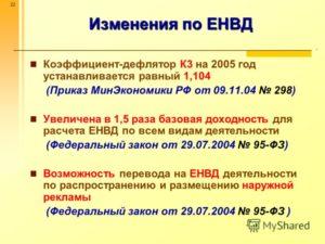 Коэффициент-дефлятор для ЕНВД