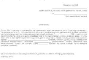 Заявление в полицию о краже имущества образец ворд