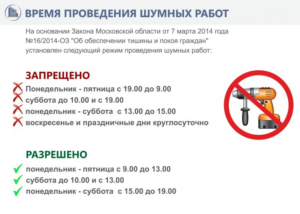 Время шумовых работ в московской области