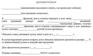Расписка в получении денежных средств в долг юридическая сила