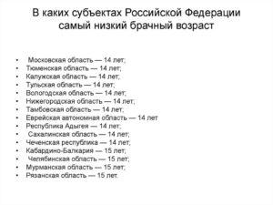 Брачный возраст российской федерации вступает в