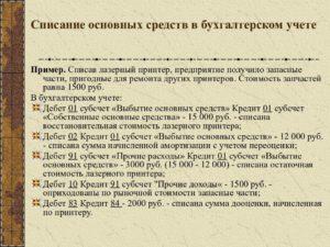 Списание основных средств стоимостью до 100000 рублей