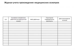 Журнал регистрации медицинских осмотров сотрудников
