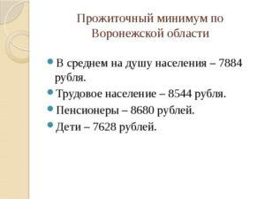 Размер прожиточного минимума в воронежской области в 2019 году