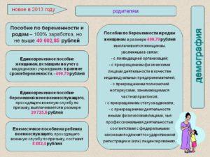 Пособие по беременности и родам 2013