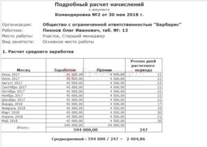 Расчет средней зарплаты для командировки