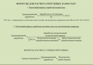 Расчет отпуска в 2017 году