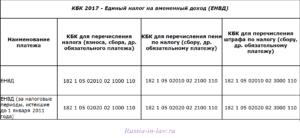 КБК ЕНВД 2017 для ИП